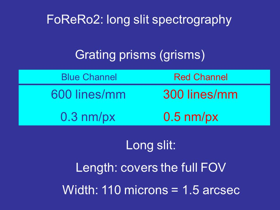 FoReRo2: long slit spectrography Blue Channel Red Channel 600 lines/mm300 lines/mm 0.3 nm/px 0.5 nm/px Long slit: Length: covers the full FOV Width: 110 microns = 1.5 arcsec Grating prisms (grisms)