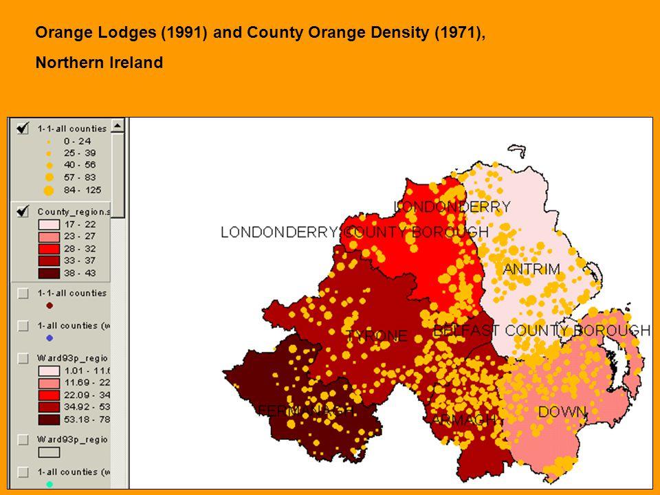 Orange Lodges (1991) and County Orange Density (1971), Northern Ireland