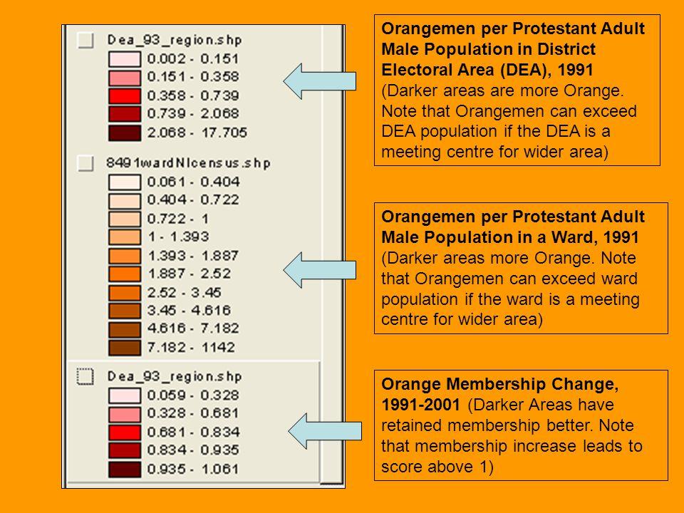 Orangemen per Protestant Adult Male Population in District Electoral Area (DEA), 1991 (Darker areas are more Orange. Note that Orangemen can exceed DE