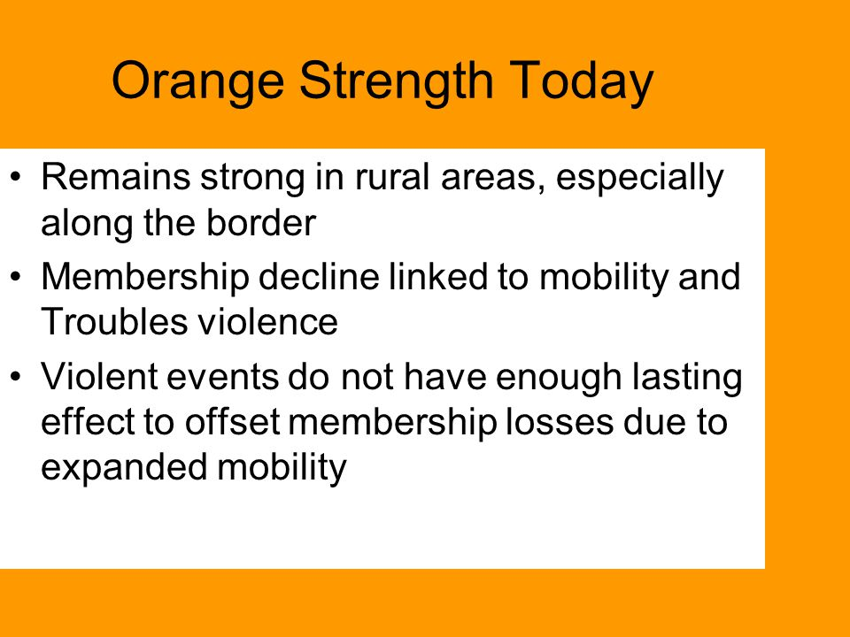 Orange Strength Today Remains strong in rural areas, especially along the border Membership decline linked to mobility and Troubles violence Violent events do not have enough lasting effect to offset membership losses due to expanded mobility