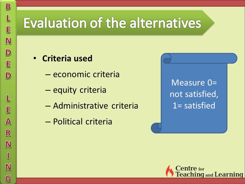 Criteria used – economic criteria – equity criteria – Administrative criteria – Political criteria Measure 0= not satisfied, 1= satisfied