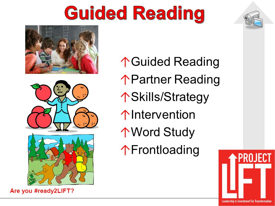 Are you #ready2LIFT? ↑ Guided Reading ↑ Partner Reading ↑ Skills/Strategy ↑ Intervention ↑ Word Study ↑ Frontloading