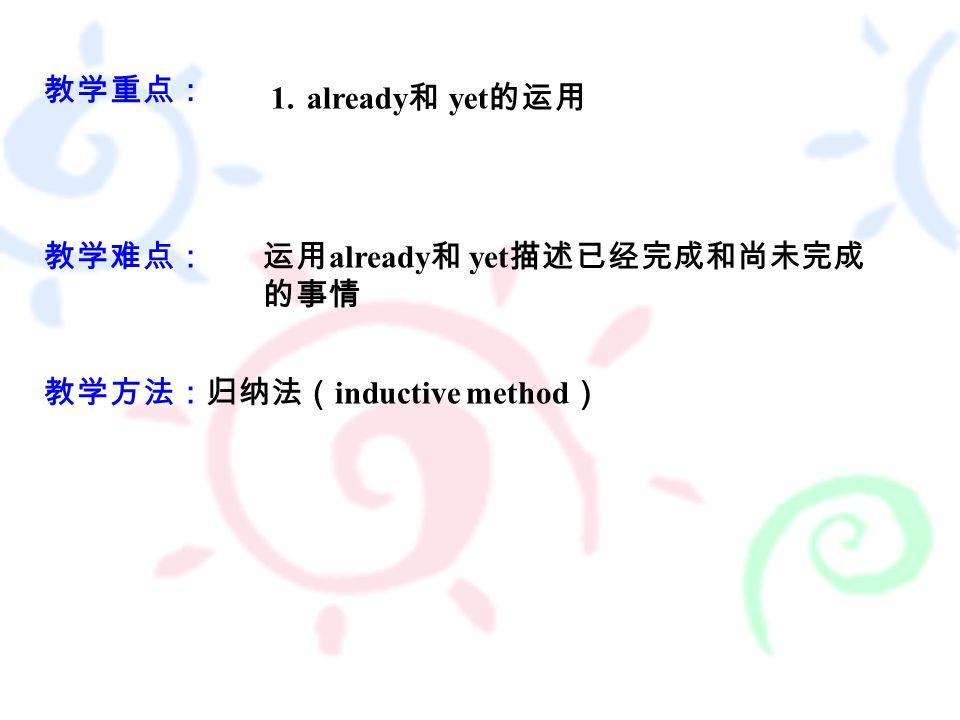 教学重点: 教学难点: 1.already 和 yet 的运用 运用 already 和 yet 描述已经完成和尚未完成 的事情 教学方法:归纳法( inductive method )