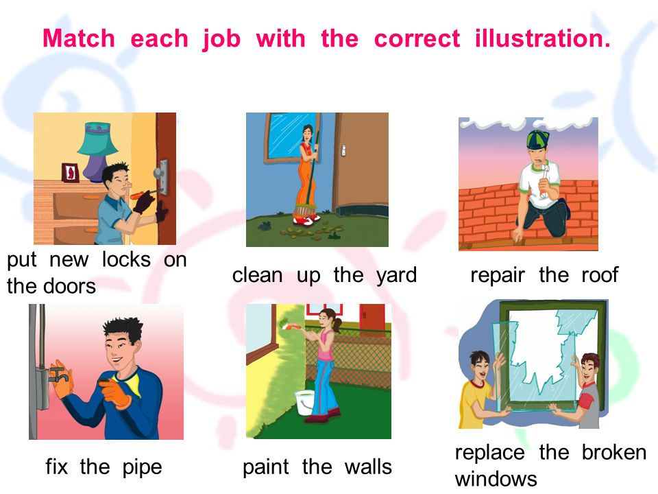 Match each job with the correct illustration.