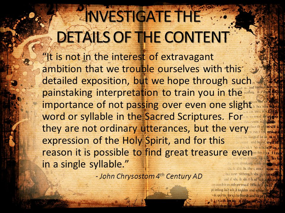"INVESTIGATE THE DETAILS OF THE CONTENT ""It is not in the interest of extravagant ambition that we trouble ourselves with this detailed exposition, but"