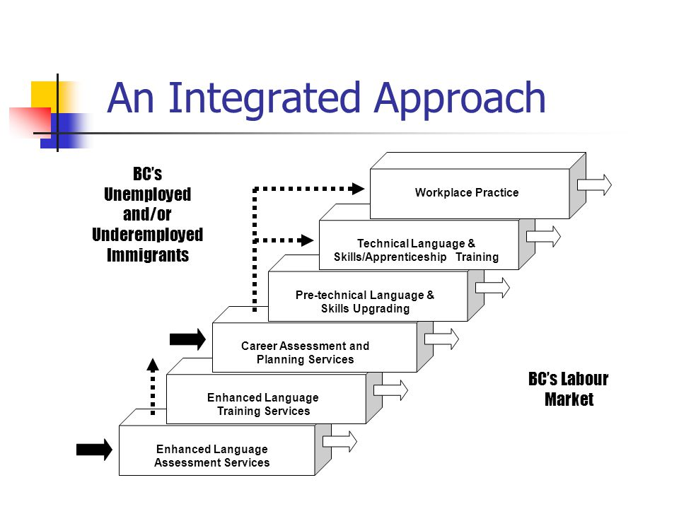 An Integrated Approach BC's Labour Market Enhanced Language Assessment Services Enhanced Language Training Services BC's Unemployed and/or Underemployed Immigrants Career Assessment and Planning Services Pre-technical Language & Skills Upgrading Workplace Practice Technical Language & Skills/Apprenticeship Training