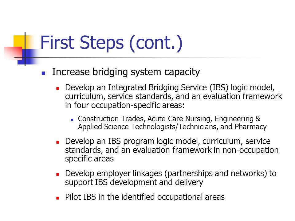 First Steps (cont.) Increase bridging system capacity Develop an Integrated Bridging Service (IBS) logic model, curriculum, service standards, and an evaluation framework in four occupation-specific areas: Construction Trades, Acute Care Nursing, Engineering & Applied Science Technologists/Technicians, and Pharmacy Develop an IBS program logic model, curriculum, service standards, and an evaluation framework in non-occupation specific areas Develop employer linkages (partnerships and networks) to support IBS development and delivery Pilot IBS in the identified occupational areas