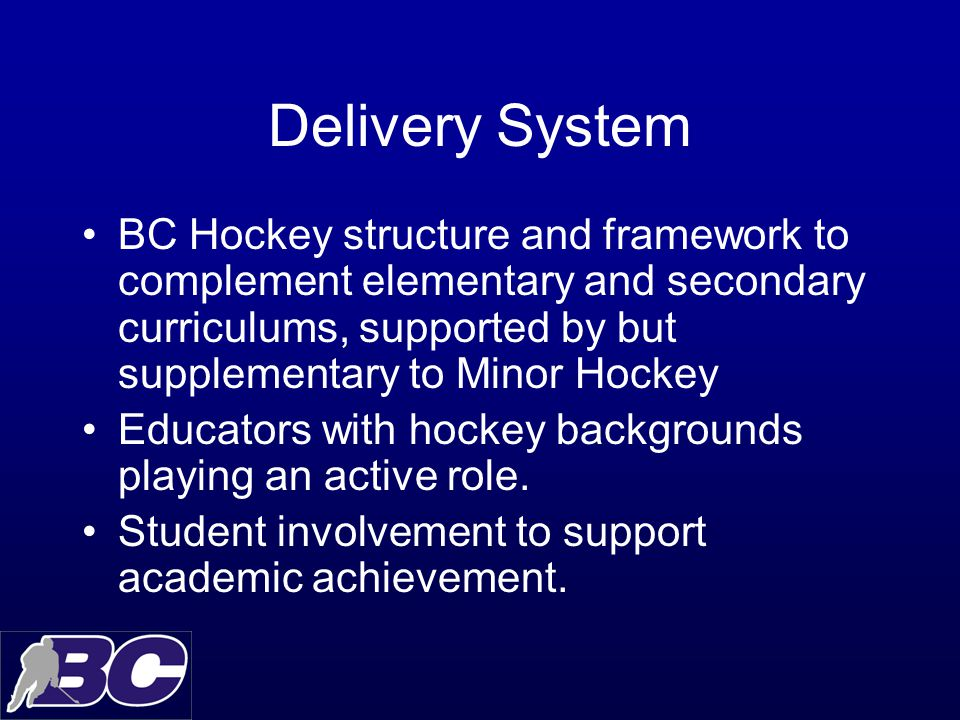 Delivery System BC Hockey structure and framework to complement elementary and secondary curriculums, supported by but supplementary to Minor Hockey Educators with hockey backgrounds playing an active role.
