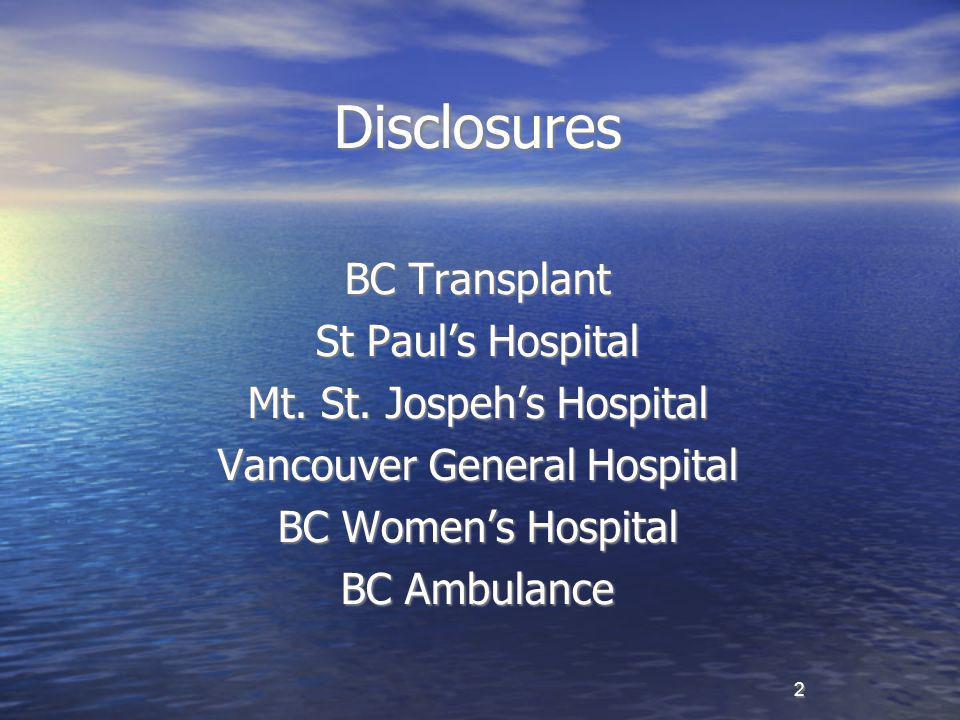 2 Disclosures BC Transplant St Paul's Hospital Mt.