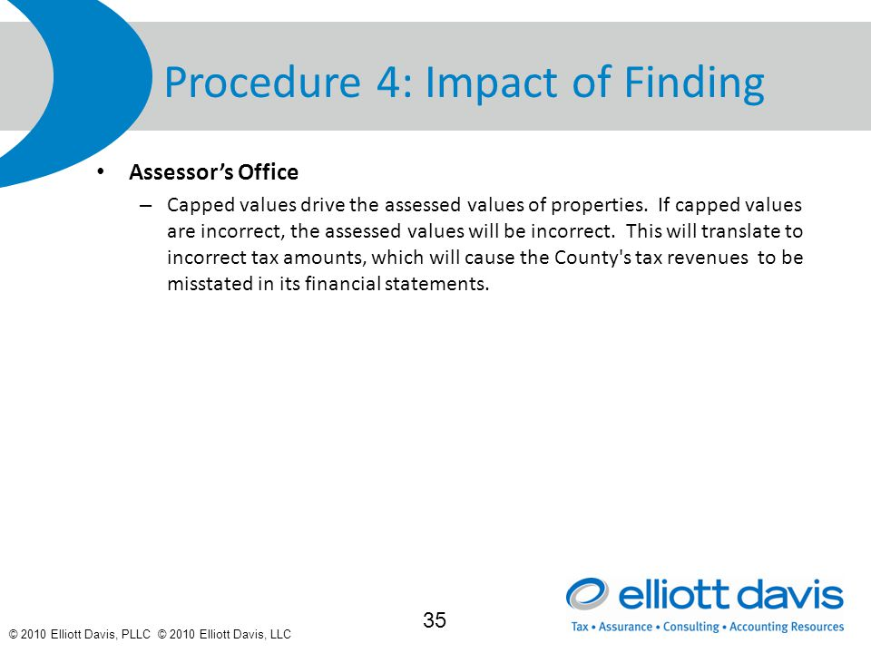 © 2010 Elliott Davis, PLLC © 2010 Elliott Davis, LLC Procedure 4: Impact of Finding Assessor's Office – Capped values drive the assessed values of properties.