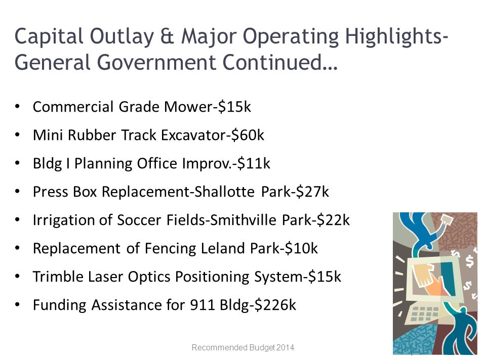 Commercial Grade Mower-$15k Mini Rubber Track Excavator-$60k Bldg I Planning Office Improv.-$11k Press Box Replacement-Shallotte Park-$27k Irrigation of Soccer Fields-Smithville Park-$22k Replacement of Fencing Leland Park-$10k Trimble Laser Optics Positioning System-$15k Funding Assistance for 911 Bldg-$226k Recommended Budget 2014 Capital Outlay & Major Operating Highlights- General Government Continued…