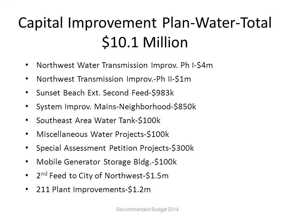 Capital Improvement Plan-Water-Total $10.1 Million Northwest Water Transmission Improv.