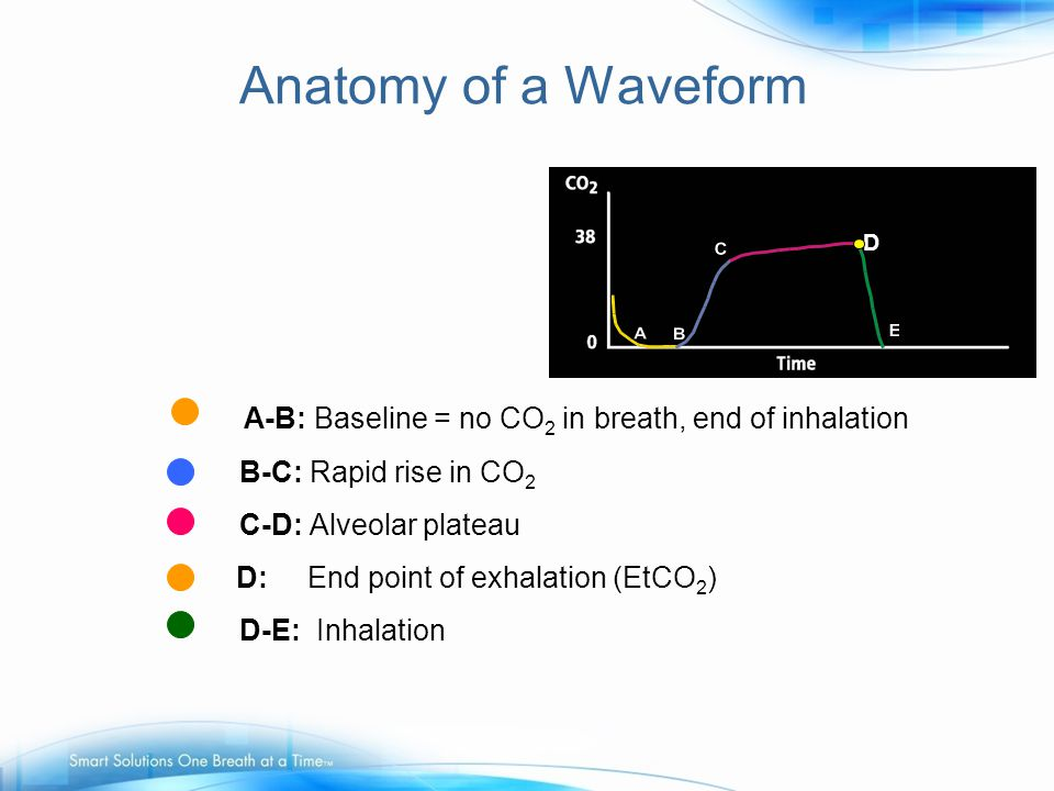A-B: Baseline = no CO 2 in breath, end of inhalation B-C: Rapid rise in CO 2 D-E: Inhalation C-D: Alveolar plateau D D: End point of exhalation (EtCO