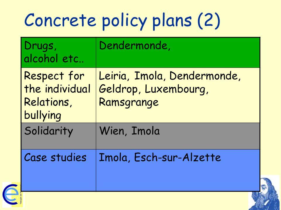 Concrete policy plans (2) Drugs, alcohol etc..
