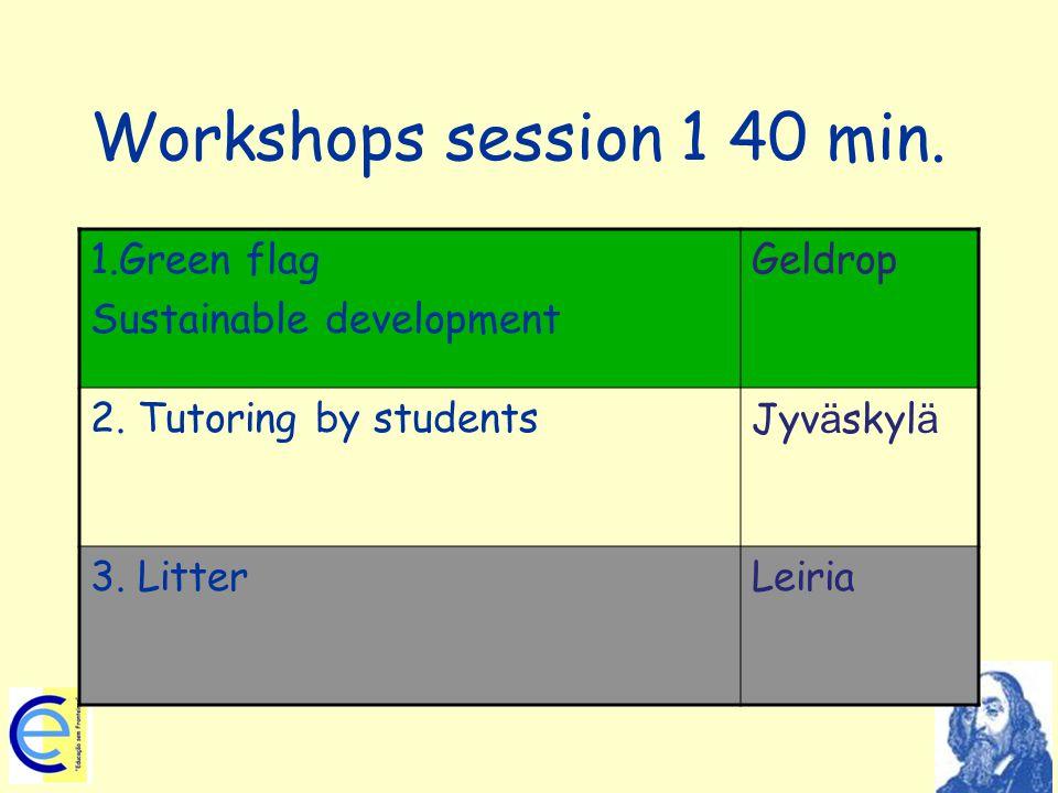Workshops session 1 40 min. 1.Green flag Sustainable development Geldrop 2. Tutoring by studentsJyv ä skyl ä 3. LitterLeiria