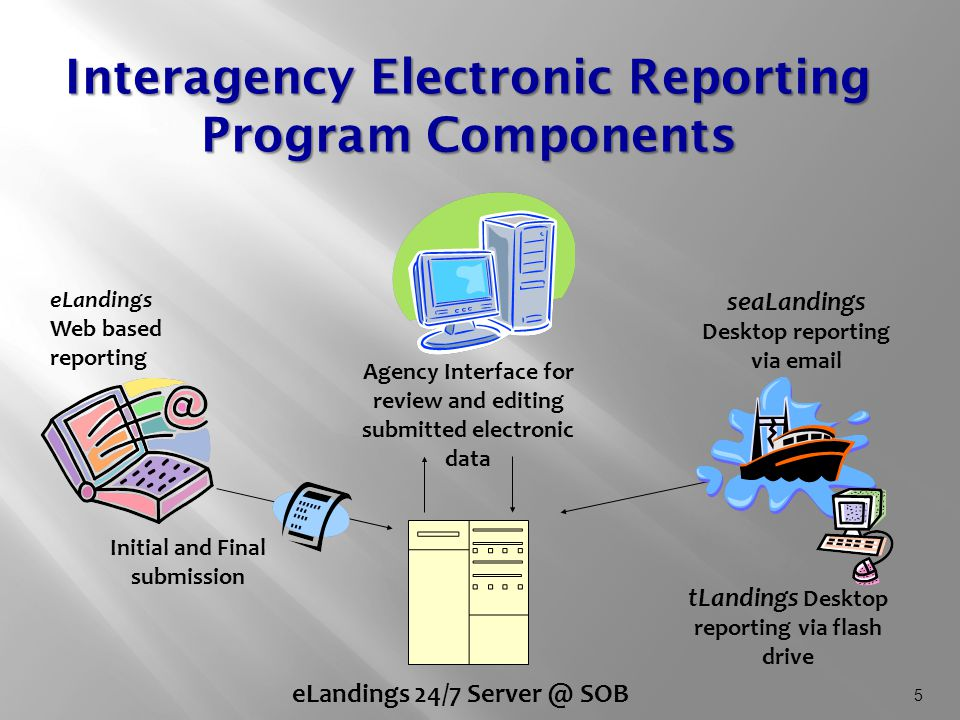 5 Interagency Electronic Reporting Program Components eLandings Web based reporting seaLandings Desktop reporting via email Agency Interface for review and editing submitted electronic data eLandings 24/7 Server @ SOB Initial and Final submission tLandings Desktop reporting via flash drive