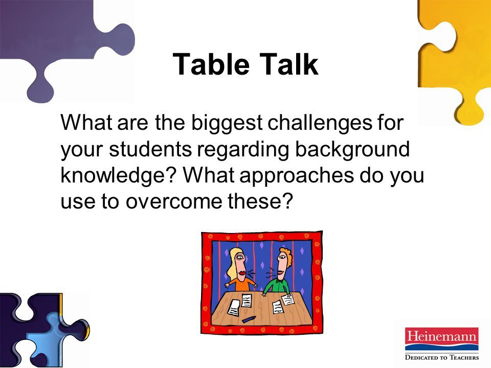 Table Talk What are the biggest challenges for your students regarding background knowledge.