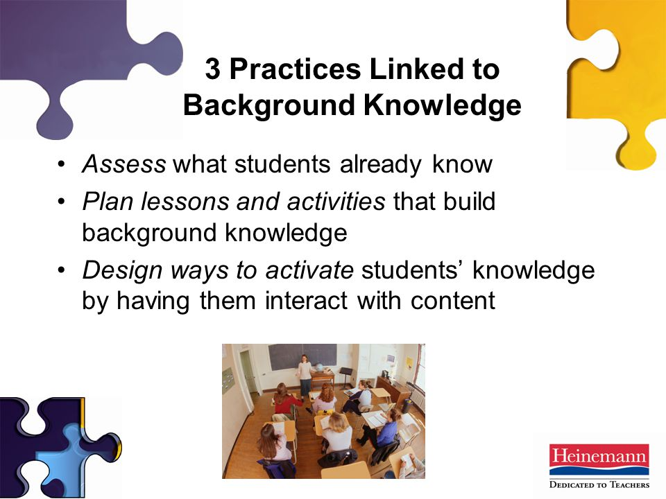 3 Practices Linked to Background Knowledge Assess what students already know Plan lessons and activities that build background knowledge Design ways to activate students' knowledge by having them interact with content