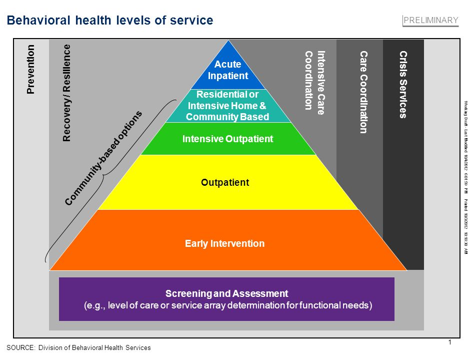 Working Draft - Last Modified 10/4/2012 6:01:59 PM Printed 10/3/2012 10:18:30 AM 1 Behavioral health levels of service PRELIMINARY SOURCE: Division of Behavioral Health Services Screening and Assessment (e.g., level of care or service array determination for functional needs) Recovery / Resilience Intensive Care Coordination Care CoordinationCrisis Services Prevention Acute Inpatient Residential or Intensive Home & Community Based Intensive Outpatient Early Intervention Outpatient Community-based options