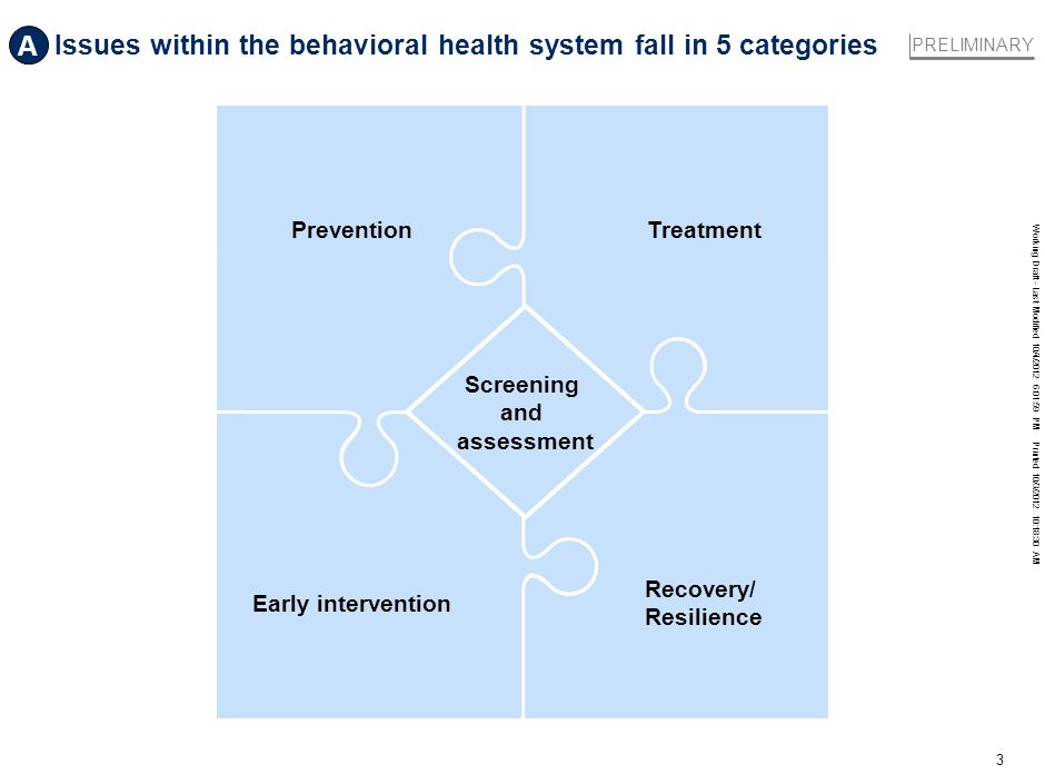 Working Draft - Last Modified 10/4/2012 6:01:59 PM Printed 10/3/2012 10:18:30 AM 3 Issues within the behavioral health system fall in 5 categories Pre