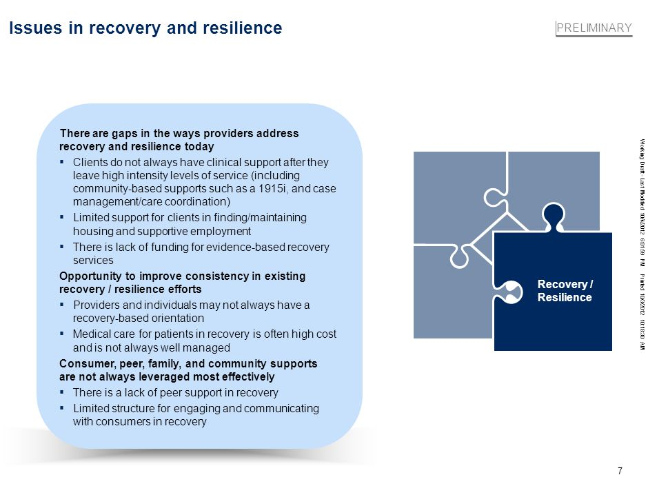 Working Draft - Last Modified 10/4/2012 6:01:59 PM Printed 10/3/2012 10:18:30 AM 7 Issues in recovery and resilience There are gaps in the ways provid