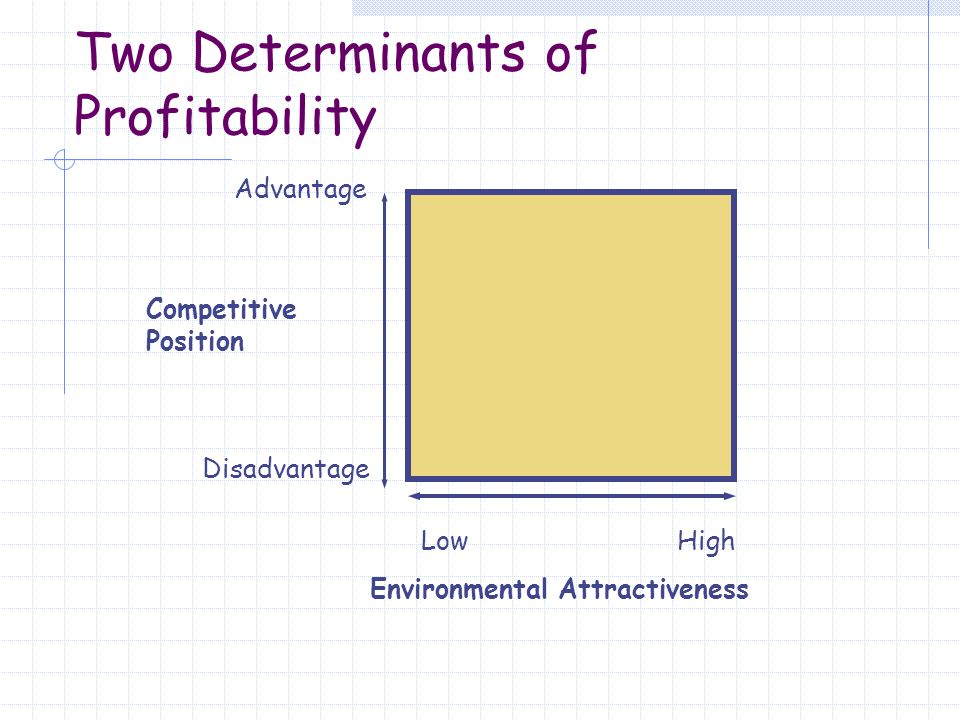 a Environmental Attractiveness Competitive Position Advantage Disadvantage LowHigh Two Determinants of Profitability