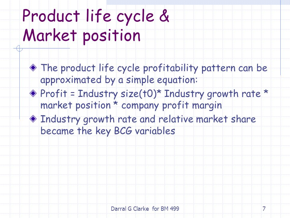 Darral G Clarke for BM 4997 Product life cycle & Market position The product life cycle profitability pattern can be approximated by a simple equation