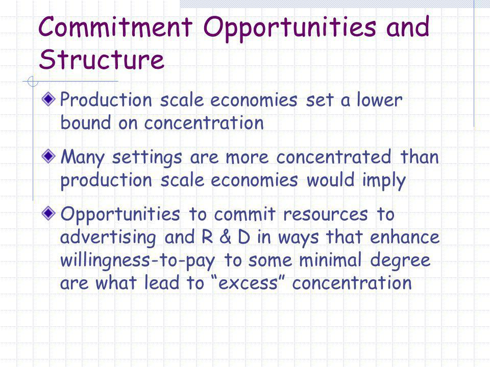 Commitment Opportunities and Structure Production scale economies set a lower bound on concentration Many settings are more concentrated than production scale economies would imply Opportunities to commit resources to advertising and R & D in ways that enhance willingness-to-pay to some minimal degree are what lead to excess concentration