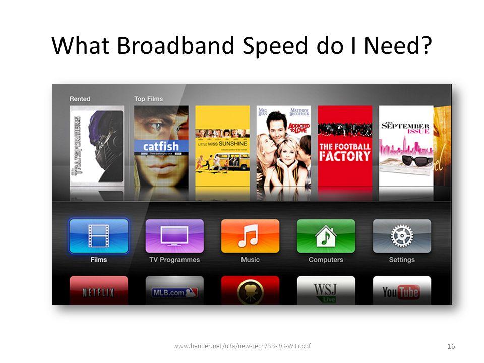 What Broadband Speed do I Need? www.hender.net/u3a/new-tech/BB-3G-WiFi.pdf 16
