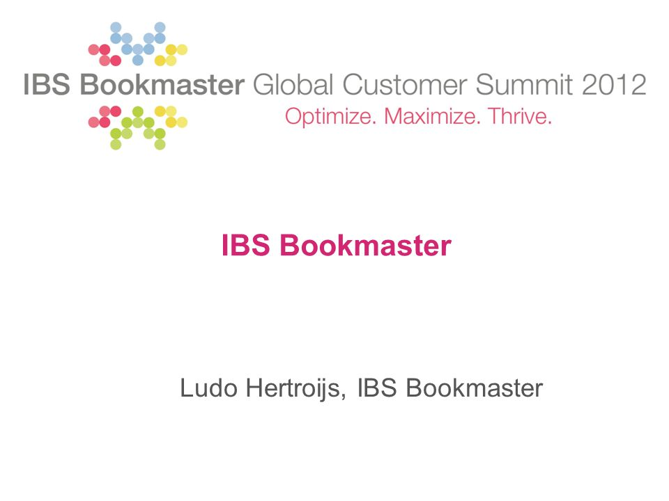 IBS Bookmaster Ludo Hertroijs, IBS Bookmaster