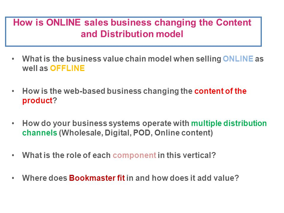 What is the business value chain model when selling ONLINE as well as OFFLINE How is the web-based business changing the content of the product.