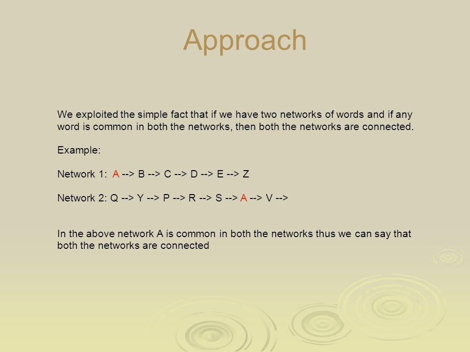 Approach We exploited the simple fact that if we have two networks of words and if any word is common in both the networks, then both the networks are connected.