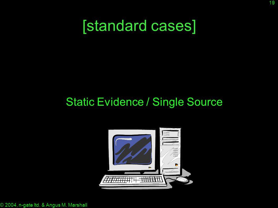 19 © 2004, n-gate ltd. & Angus M. Marshall [standard cases] Static Evidence / Single Source