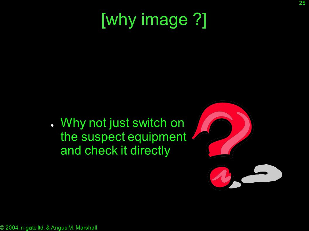 25 © 2004, n-gate ltd. & Angus M. Marshall [why image ?] ● Why not just switch on the suspect equipment and check it directly