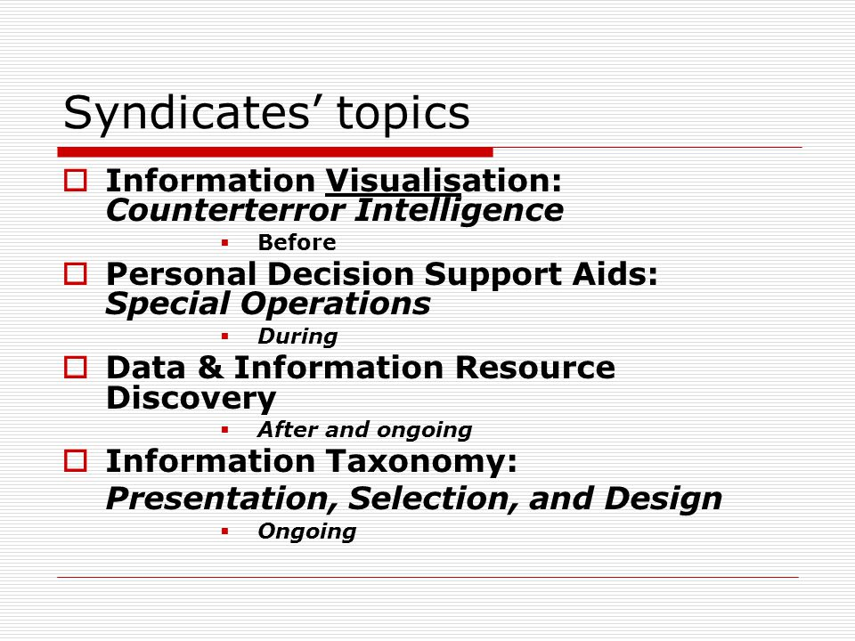 Syndicates' topics  Information Visualisation: Counterterror Intelligence  Before  Personal Decision Support Aids: Special Operations  During  Da