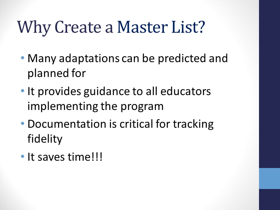 Why Create a Master List.