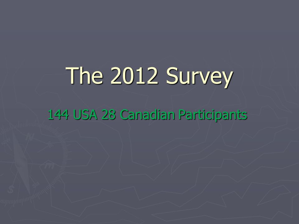 The 2012 Survey 144 USA 28 Canadian Participants