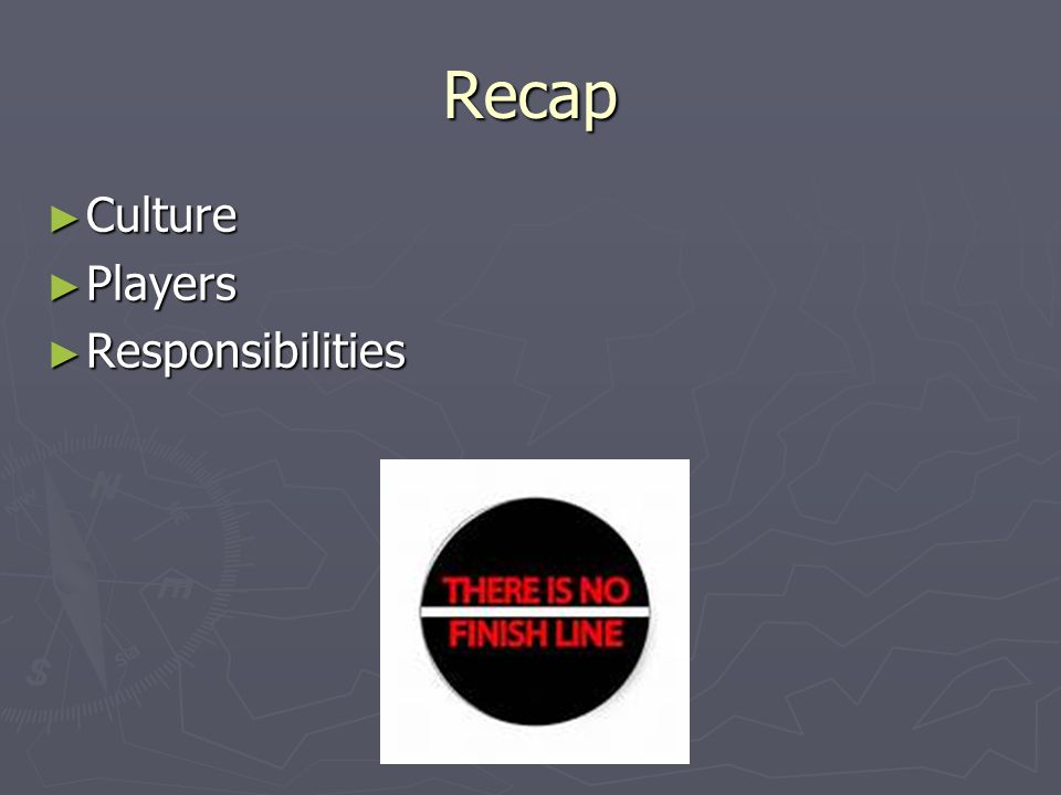 Recap ► Culture ► Players ► Responsibilities