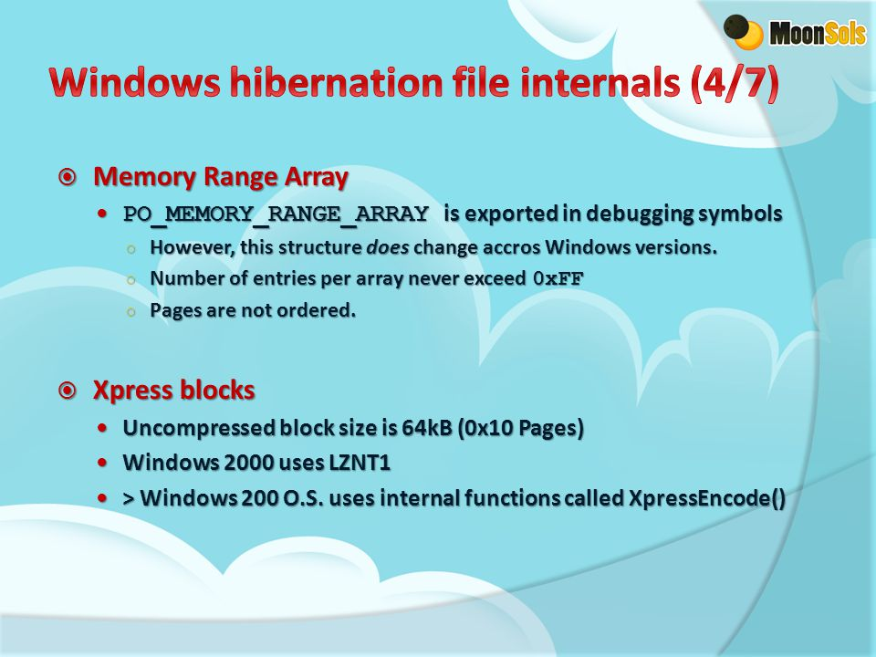  Memory Range Array PO_MEMORY_RANGE_ARRAY is exported in debugging symbols PO_MEMORY_RANGE_ARRAY is exported in debugging symbols ○ However, this str