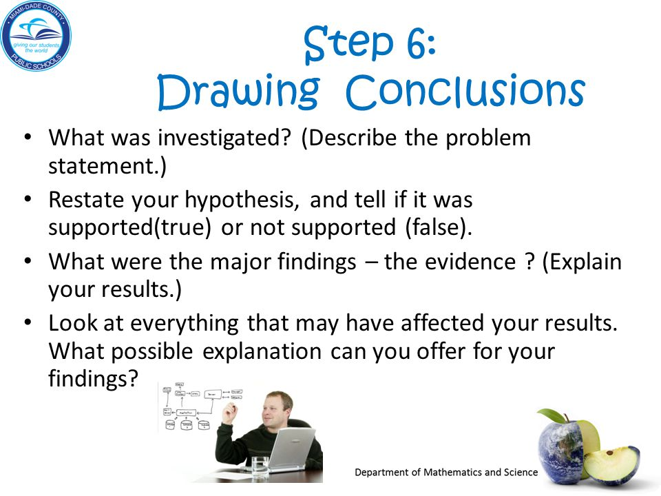 Step 6: Drawing Conclusions What was investigated.