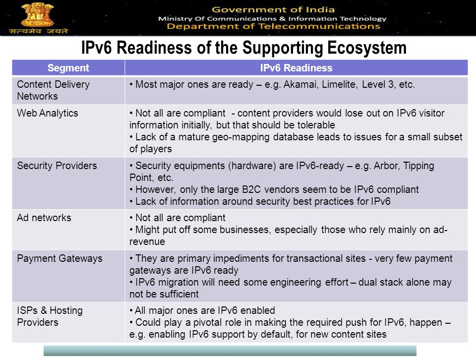 IPv6 Readiness of the Supporting Ecosystem SegmentIPv6 Readiness Content Delivery Networks Most major ones are ready – e.g.
