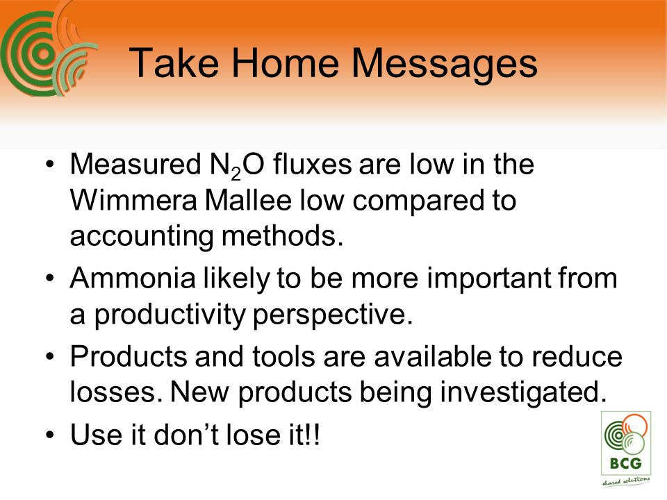 Take Home Messages Measured N 2 O fluxes are low in the Wimmera Mallee low compared to accounting methods.
