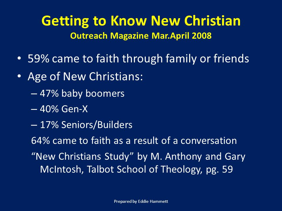Getting to Know New Christian Outreach Magazine Mar.April 2008 59% came to faith through family or friends Age of New Christians: – 47% baby boomers – 40% Gen-X – 17% Seniors/Builders 64% came to faith as a result of a conversation New Christians Study by M.