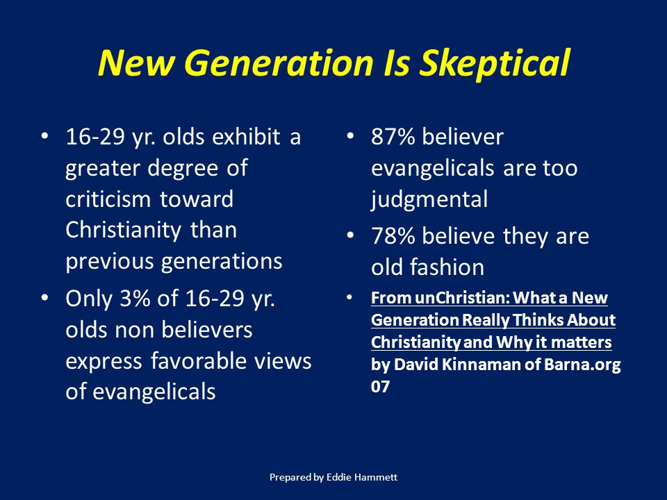 New Generation Is Skeptical 16-29 yr.