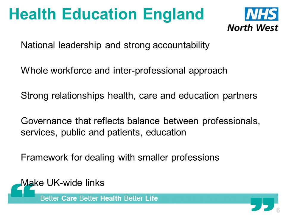 Better Care Better Health Better Life Health Education England  National leadership and strong accountability  Whole workforce and inter-professional approach  Strong relationships health, care and education partners  Governance that reflects balance between professionals, services, public and patients, education  Framework for dealing with smaller professions  Make UK-wide links 6