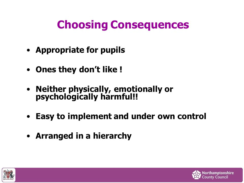 Choosing Consequences Appropriate for pupils Ones they don't like ! Neither physically, emotionally or psychologically harmful!! Easy to implement and