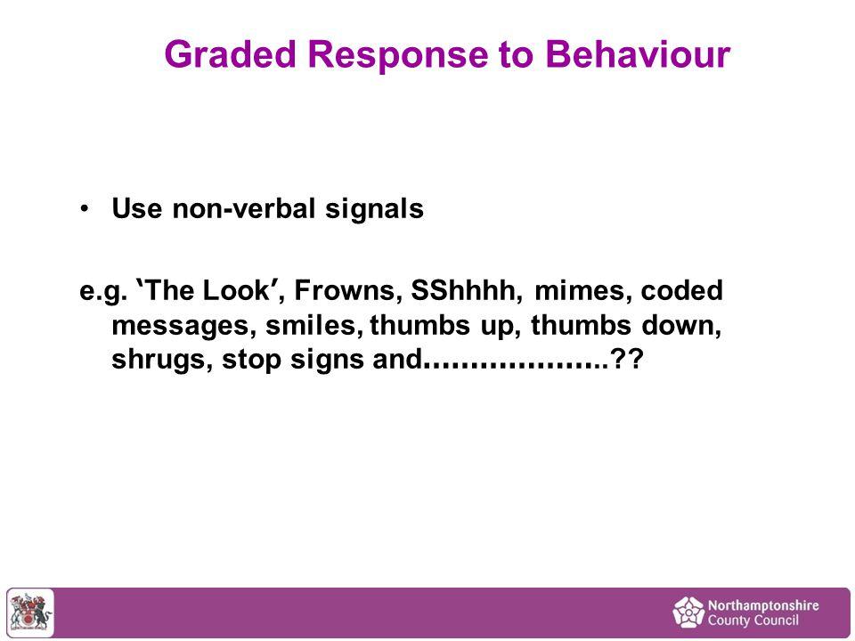 Use non-verbal signals e.g.