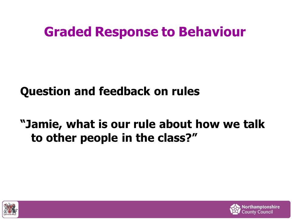 """Question and feedback on rules """"Jamie, what is our rule about how we talk to other people in the class?"""""""