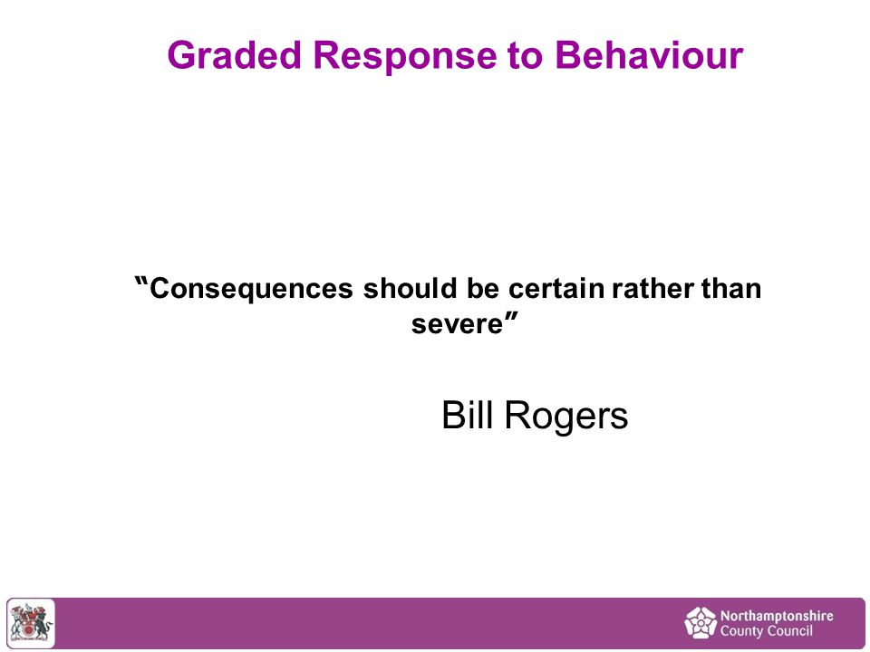 """"""" Consequences should be certain rather than severe """" Bill Rogers Graded Response to Behaviour"""