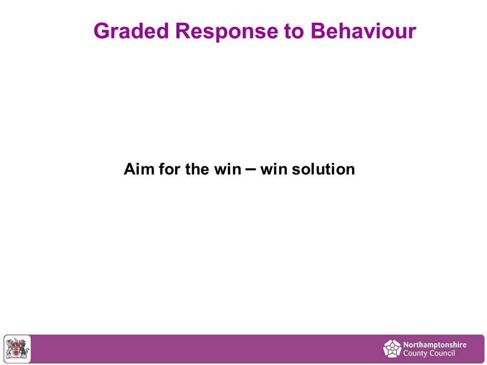 Aim for the win – win solution Graded Response to Behaviour